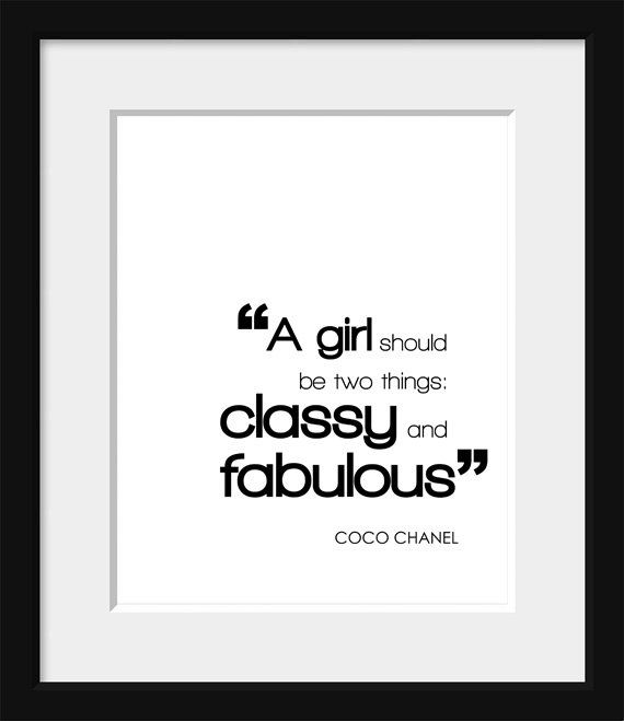 Quotes About Fashion Typography Poster Coco Chanel Black And White
