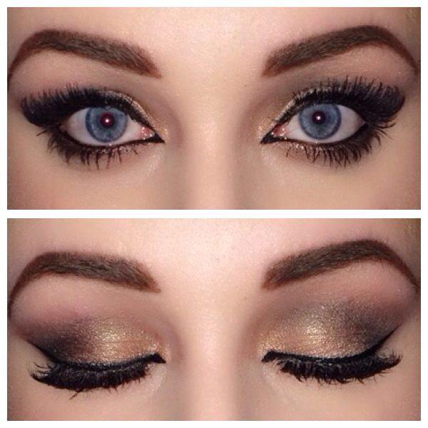 Eye Makeup Gold And Brown Smokey Eye Winged Cat Eye Gel Liner