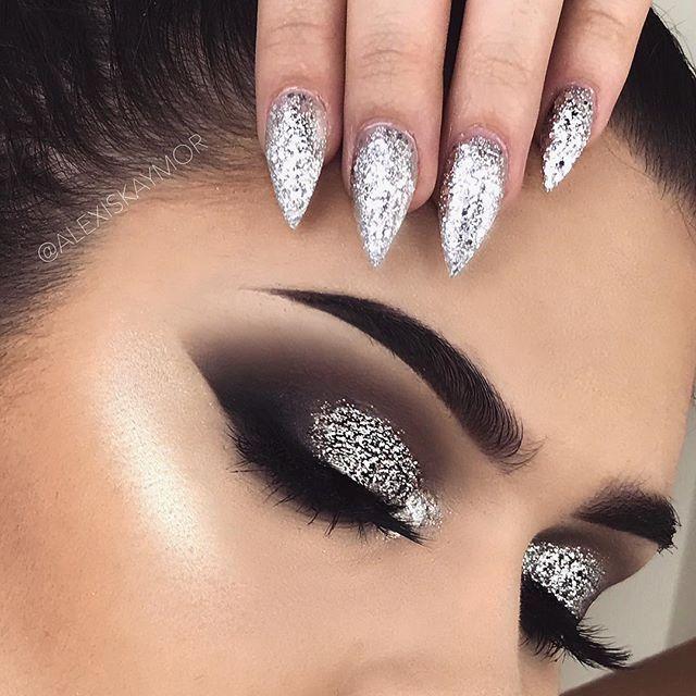Eye Makeup Tutorials Smokey Silver Glitter New Years Eve Look