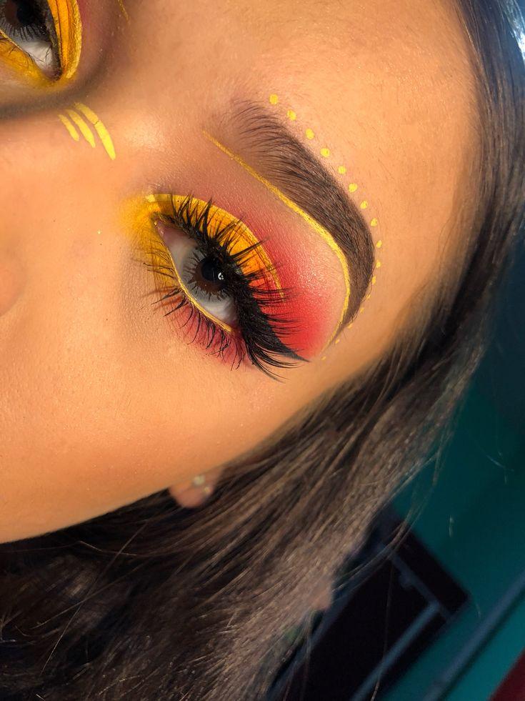 Eye Makeup Tutorials Yellow And Red Coachella Makeup Yellow And